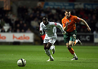 ATTENTION SPORTS PICTURE DESK<br /> Pictured: Nathan Dyer of Swansea (L) outruns Jamie McKie of Plymouth (R)<br /> Re: Coca Cola Championship, Swansea City FC v Plymouth Argyle at the Liberty Stadium, Swansea, south Wales. 10 March 2009.<br /> Picture by D Legakis Photography / Athena Picture Agency, Swansea 07815441513