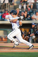 Stuart Fairchild (43) of the Billings Mustangs follows through on his swing against the Missoula Osprey at Dehler Park on August 21, 2017 in Billings, Montana.  The Osprey defeated the Mustangs 10-4.  (Brian Westerholt/Four Seam Images)