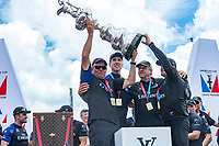 The Great Sound, Bermuda, 26th June 2017. Emirates Team New Zealand CEO holds aloft the America's Cup on stage with Helmsman Peter Burling, Principal Matteo de Nora and skipper Glenn Asby.<br /> Vela Coppa America 2017 <br /> Foto Chris Cameron / Panoramic / Insidefoto