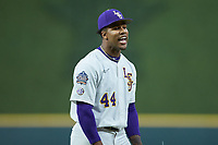 LSU Tigers relief pitcher Jaden Hill (44) reacts after getting the final out in the game against the Texas Longhorns in game three of the 2020 Shriners Hospitals for Children College Classic at Minute Maid Park on February 28, 2020 in Houston, Texas. The Tigers defeated the Longhorns 4-3. (Brian Westerholt/Four Seam Images)