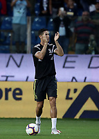 Calcio, Serie A: Parma - Juventus, Parma stadio Ennio Tardini, 1 settembre 2018.<br /> Juventus' Cristiano Ronaldo warms up prior to the Italian Serie A football match between Parma and Juventus at Parma's Ennio Tardini stadium, September 1, 2018. <br /> UPDATE IMAGES PRESS/Isabella Bonotto