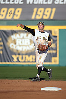 Garrett Hampson (1) of the Long Beach State Dirtbags throws during a game against the Arizona State Sun Devils at Blair Field on February 27, 2016 in Long Beach, California. Long Beach State defeated Arizona State, 5-2. (Larry Goren/Four Seam Images)