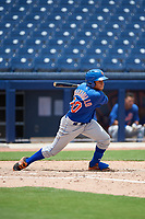 GCL Mets center fielder Guillermo Granadillo (90) hits a single during the second game of a doubleheader against the GCL Nationals on July 22, 2017 at The Ballpark of the Palm Beaches in Palm Beach, Florida.  GCL Mets defeated the GCL Nationals 4-1.  (Mike Janes/Four Seam Images)
