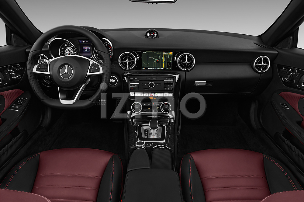 Stock photo of straight dashboard view of 2017 Mercedes Benz SLC SLC300 2 Door Convertible