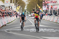 Philippe Gilbert (BEL/Quick Step floors) beating Michal Kwiatkowski (POL/SKY) in a sprint to the finish and taking his 4th AGR win<br /> <br /> 57th Brabantse Pijl - La Flèche Brabançonne (1.HC)<br /> 1 Day Race: Leuven › Overijse (197km)