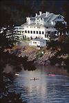San Juan Islands, Orcas Island, Sea kayakers off Rosario Resort, Moran Mansion, Washington State, Pacific Northwest, U.S.A.,