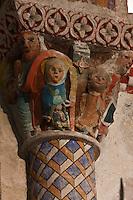 Europe/France/Aquitaine/64/Pyrénées-Atlantiques/Pays-Basque/Sainte-Engrâce: L'église romane du XIe siècle - Détail Chapiteau: Nativité, la vierge présente l'enfant, l' étoile et les mages