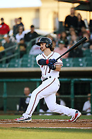 Brendan Rodgers (1) of the Lancaster JetHawks bats against the San Jose Giants at The Hanger on May 5, 2017 in Lancaster, California. San Jose defeated Lancaster, 4-2. (Larry Goren/Four Seam Images)