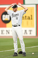 Birmingham Barons starting pitcher Adam Russell gets loose in the bullpen prior to taking on the Chattanooga Lookouts at Hoover Metropolitan Stadium in Birmingham, AL, Sunday, August 20, 2006.