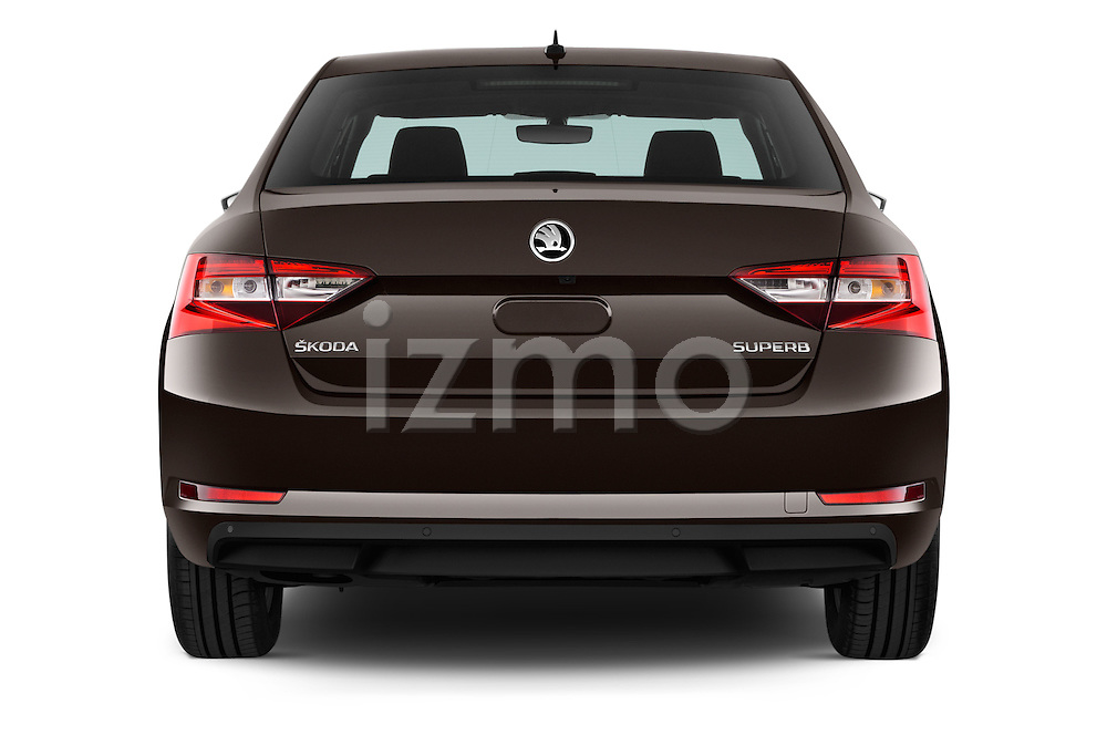Straight rear view of 2016 Skoda Superb Ambition 5 Door Hatchback Rear View  stock images