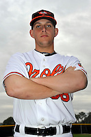 Feb 27, 2010; Tampa, FL, USA; Baltimore Orioles  infielder Brandon Snyder (58) during  photoday at Ed Smith Stadium. Mandatory Credit: Tomasso De Rosa