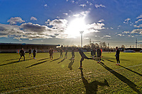Pictured: Players start their training session. Thursday 18 January 2018<br /> Re: Players and staff of Newport County Football Club prepare at Newport Stadium, for their FA Cup game against Tottenham Hotspur in Wales, UK