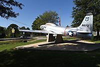 A Lockheed T-33 jet, seen Tuesday Oct. 5 2021,  is a landmark in Gravette at Capt. Field E. Kindley Memorial Park near downtown. <br />(NWA Democrat-Gazette/Flip Putthoff)