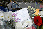 Floral tributes to the victims of the mid air collision over Kenfig sand dunes near Porthcawl last week outside the St Mary Magdalene Church near the scene of the crash today..
