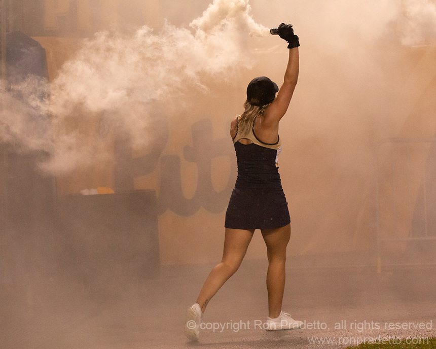 A Pitt Panther cheerleader lets off a smoke bomb before the game. The Penn State Nittany Lions defeated the Pitt Panthers 51-6 on September 08, 2018 at Heinz Field in Pittsburgh, Pennsylvania.