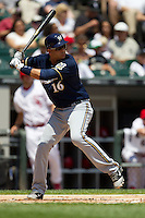 Milwaukee Brewers third baseman Aramis Ramirez #16 at bat during the Major League Baseball game against the Chicago White Sox on June 24, 2012 at US Cellular Field in Chicago, Illinois. The White Sox defeated the Brewers 1-0 in 10 innings. (Andrew Woolley/Four Seam Images).