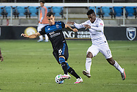 SAN JOSE, CA - NOVEMBER 04: Luis Felipe #96 of the San Jose Earthquakes battles with Jose Cifuentes #11 of the Los Angeles FC during a game between Los Angeles FC and San Jose Earthquakes at Earthquakes Stadium on November 04, 2020 in San Jose, California.