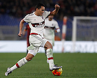 Calcio, Serie A: Roma vs Milan. Roma, stadio Olimpico, 9 gennaio 2016.<br /> AC Milan's Carlos Bacca in action during the Italian Serie A football match between Roma and Milan at Rome's Olympic stadium, 9 January 2016.<br /> UPDATE IMAGES PRESS/Isabella Bonotto