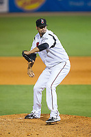 Nashville Sounds relief pitcher Rob Wooten (49) in action against the Oklahoma City RedHawks at Greer Stadium on July 25, 2014 in Nashville, Tennessee.  The Sounds defeated the RedHawks 2-0.  (Brian Westerholt/Four Seam Images)