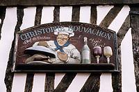 """Europe/France/Normandie/Basse-Normandie/14/Calvados/Honfleur: Détail de la façade du restaurant """"Le Champlain"""" situé dans la maison natale d'Alphonse Allais"""