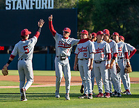 STANFORD, CA - JUNE 7: Team warm-up before a game between UC Irvine and Stanford Baseball at Sunken Diamond on June 7, 2021 in Stanford, California.