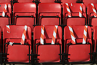 Seats taped off in the stand during Maldon & Tiptree vs Morecambe, Emirates FA Cup Football at the Wallace Binder Ground on 8th November 2020