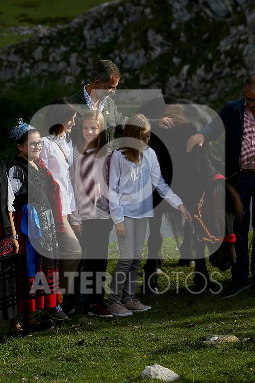 King Felipe VI of Spain, Princess Leonor of Spain, Princess Sofia of Spain and Queen Letizia of Spain visit the Enol lake in Asturias, Spain. September 08, 2018. (ALTERPHOTOS/A. Perez Meca)