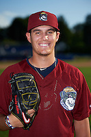 Mahoning Valley Scrappers pitcher Brady Aiken (37) poses for a photo before a game against the Batavia Muckdogs on August 19, 2016 at Dwyer Stadium in Batavia, New York.  Mahoning Valley defeated Batavia 9-2.  (Mike Janes/Four Seam Images)