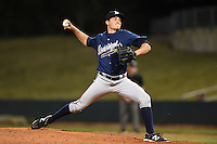 Mississippi Braves pitcher Ryne Harper (18) delivers a pitch during a game against the Montgomery Biscuits on April 21, 2014 at Riverwalk Stadium in Montgomery, Alabama.  Montgomery defeated Mississippi 6-2.  (Mike Janes/Four Seam Images)