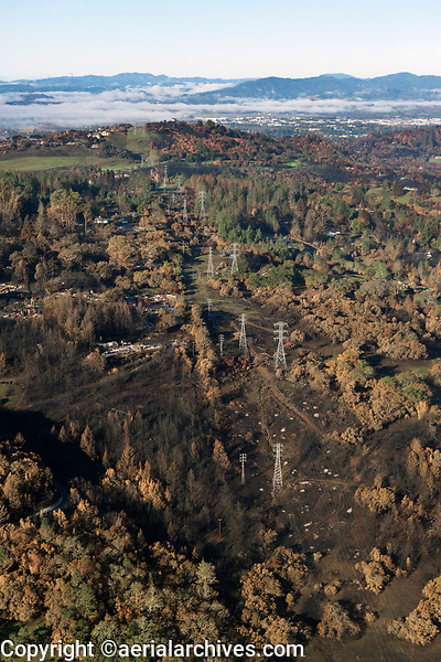 Pacific Gas & Electric, PG&E power transmission line, Tubbs Fire, Sonoma County, California, northern California wildfires, 2017