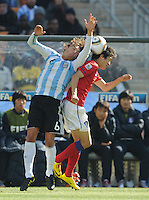 Argentinian defender Gabrial Heinze wins a head ball. Argentina defeated South Korea, 4-1, in both teams' second match of play in Group B of the 2010 FIFA World Cup. The match was played at Soccer City in Johannesburg, South Africa June 17th.