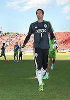 August 10, 2013: Seattle Sounders FC goalkeeper Michael Gspurning #1 walks off the pitch after warm up during an MLS regular season game between the Seattle Sounders and Toronto FC at BMO Field in Toronto, Ontario Canada.<br /> Seattle Sounders FC won 2-1.