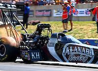 Jul. 21, 2013; Morrison, CO, USA: NHRA top fuel dragster driver Shawn Langdon during the Mile High Nationals at Bandimere Speedway. Mandatory Credit: Mark J. Rebilas-