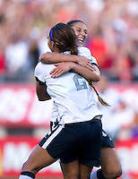 Sydney Leroux (2) of the USWNT celebrates her goal with teammate Carli Lloyd (10) during an international friendly at the Florida Citrus Bowl in Orlando, FL.  The USWNT defeated Brazil, 4-1.