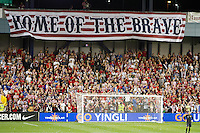 Fans of the United States Men's National Team cheer during the second half as the United States played Guatemala at Livestrong Sporting Park in Kansas City, Kansas in a World Cup Qualifier on Tue. Oct. 16, 2012.