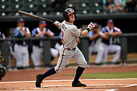 Shortstop Marcus Mooney (2) of the Rome Braves bats in a game against the Columbia Fireflies on Sunday, July 2, 2017, at Spirit Communications Park in Columbia, South Carolina. Columbia won, 3-2. (Tom Priddy/Four Seam Images)