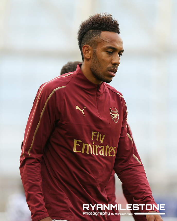 Arsenal's Pierre-Emerick Aubameyang during the warmup ahead of the International Champions Cup Game between Arsenal and Chelsea at the Aviva Stadium, Dublin. Photo By Michael P Ryan.