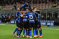 26th September 2020, San Siro Stadium, Milan, Italy; Serie A Football, Inter Milan versus Fiorentina;  Goal celebrations from Lautaro Martinez