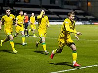 2nd February 2021; St Mirren Park, Paisley, Renfrewshire, Scotland; Scottish Premiership Football, St Mirren versus Hibernian; Ryan Porteous of Hibernian celebrates after scoring the opening goal in the 55th minute