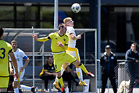 Daniel Edwards of Eastern Suburbs competes for the ball with Henry Hamilton of the Wellington Phoenix during the ISPS Handa Men's Premiership - Wellington Phoenix v Eastern Suburbs at Fraser Park, Wellington on Saturday 28 November 2020.<br /> Copyright photo: Masanori Udagawa /  www.photosport.nz