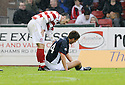 27/09/2008  Copyright Pic: James Stewart.File Name : sct_jspa27_falkirk_v_hamilton.DAVID GRAHAM HAS A GO AT GERARD AAFJES CLAIMING HE DIVED FOR FALKIRK'S PENALTY.James Stewart Photo Agency 19 Carronlea Drive, Falkirk. FK2 8DN      Vat Reg No. 607 6932 25.Studio      : +44 (0)1324 611191 .Mobile      : +44 (0)7721 416997.E-mail  :  jim@jspa.co.uk.If you require further information then contact Jim Stewart on any of the numbers above........