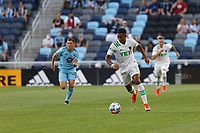 SAINT PAUL, MN - MAY 1: Danny Hoesen #9 of Austin FC with the ball during a game between Austin FC and Minnesota United FC at Allianz Field on May 1, 2021 in Saint Paul, Minnesota.