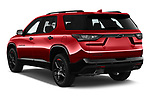 Car pictures of rear three quarter view of 2020 Chevrolet Traverse Premier 5 Door SUV Angular Rear