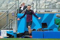 Wayne Rooney of England looks confused during training