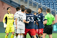 FOXBOROUGH, MA - APRIL 17: Tempers flare after a collision in the Richmond penalty box during a game between Richmond Kickers and Revolution II at Gillette Stadium on April 17, 2021 in Foxborough, Massachusetts.