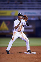 Tampa Yankees second baseman Abiatal Avelino (22) waits for a throw during a game against the Lakeland Flying Tigers on April 8, 2016 at George M. Steinbrenner Field in Tampa, Florida.  Tampa defeated Lakeland 7-1.  (Mike Janes/Four Seam Images)