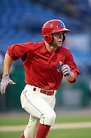 Clearwater Threshers designated hitter Scott Kingery (31) runs to first during a game against the Charlotte Stone Crabs on April 12, 2016 at Bright House Field in Clearwater, Florida.  Charlotte defeated Clearwater 2-1.  (Mike Janes/Four Seam Images)