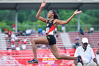 Shanieka Thomas of San Diego State competes in first round of long jump during West Preliminary Track & Field Championships at John McDonnell Field, Thursday, May 29, 2014 in Fayetteville, Ark. (Mo Khursheed/TFV Media via AP Images)