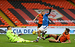 13.12.2020 Dundee Utd v Rangers: Benjamin Siegrist saves from Kemar Roofe as Ryan Edwards challenges