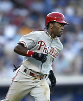 Jimmy Rollins of the Philadelphia Phillies runs the bases during a 2002 MLB season game against the Los Angeles Dodgers at Dodger Stadium, in Los Angeles, California. (Larry Goren/Four Seam Images)